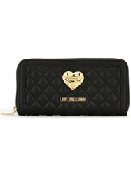 Love Moschino Quilted Zip Around Wallet Black