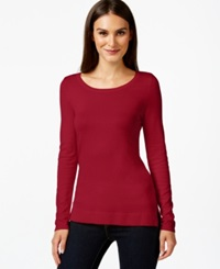 Inc International Concepts Scoop Neck Long Sleeve Sweater Only At Macy's Glamorous Red