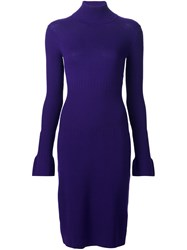 Paule Ka Ribbed Roll Neck Dress Pink And Purple
