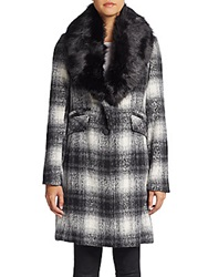 Laundry By Shelli Segal Faux Fur Collar Plaid Wool Blend Coat Black White