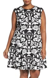 Vince Camuto Plus Size Women's Texture Knit Fit And Flare Dress