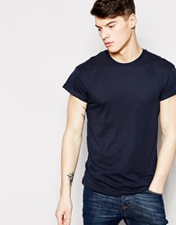New Look T Shirt With Rolled Sleeve Navy