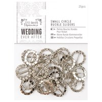 Docrafts Wedding Ever After Small Circle Buckle Sliders Silver Pack Of 25