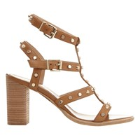 Mint Velvet Billie Studded Block Heeled Sandals Tan
