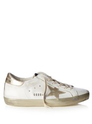 Golden Goose Super Star Low Top Leather Trainers White Gold