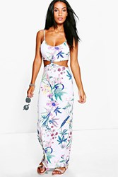 Boohoo Cut Out Sleeveless Floral Maxi Dress White