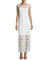 Neiman Marcus Floral Lace Sleeveless Maxi Dress Creme