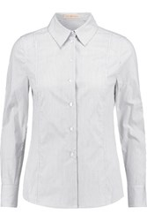 Tory Burch Addie Striped Stretch Cotton Poplin Shirt Off White