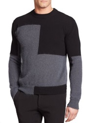 Emporio Armani Colorblocked Mohair And Wool Blend Sweater Grey Black