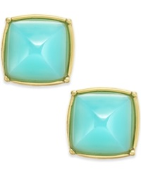 Abs By Allen Schwartz Gold Tone Rounded Pyramid Stud Earrings Aqua