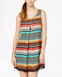 Speechless Juniors' Striped Crochet Trim Shift Dress