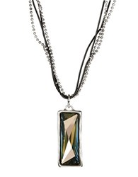 Uno De 50 Rhinestone Pendant Necklace Grey