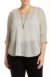 Jessica Simpson Elinah V Neck Pullover Sweater Plus Size Gray