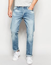 Jack And Jones Jack And Jones Light Wash Jeans In Straight Fit Blue