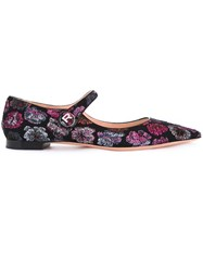Rochas Floral Embroidered Ballerinas Black