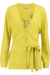 Emilio Pucci Intarsia Wool And Cashmere Blend Cardigan Yellow