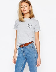 Daisy Street T Shirt With Heart Embroidery Grey