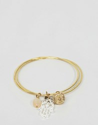 Sam Ubhi Hamsa Hand And Moon Stone Bangle Gold