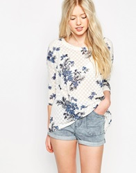 Bellfield Burnout Floral Print Short Sleeve T Shirt White