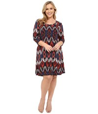 Karen Kane Plus Size Pacific Ikat 3 4 Sleeve A Line Dress Print Women's Dress Multi