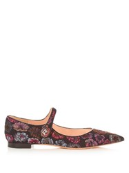 Rochas Point Toe Brocade Flats Black Multi