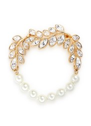 Kenneth Jay Lane Glass Pearl Crystal Leaf Bracelet Metallic
