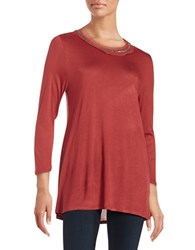 H Halston Embellished Knit Top Clay