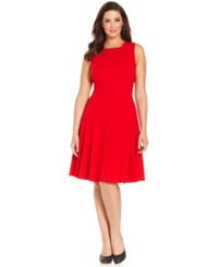 Calvin Klein Plus Size Pleated A Line Dress Red