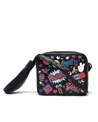 Anya Hindmarch Leather Sticker Cross Body Bag Black Multi Coloured Yellow