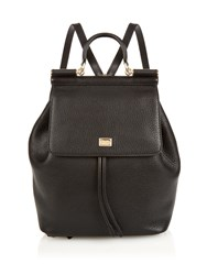 Dolce And Gabbana Sicily Grained Leather Backpack