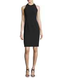 Carmen Marc Valvo Sleeveless Sheath Dress W Back Cutouts Black