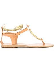 Ancient Greek Sandals 'Chrysso' Beaded T Bar Sandals Nude And Neutrals