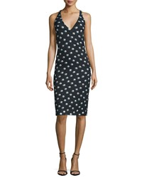 Camilla And Marc Sleeveless Polka Dot Sheath Dress Women's Black W Silver