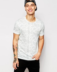 Pullandbear T Shirt With All Over Paisley Print White