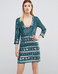 Maya All Over Heavily Embellished Mini Dress With Open Back Emerald Green