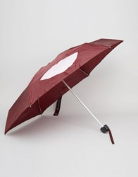 Lulu Guinness Tiny Umbrella In Abstract Lips Print Burgundy Red