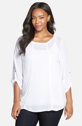 Xcvi Roll Sleeve Crepe Georgette Blouse Plus Size White