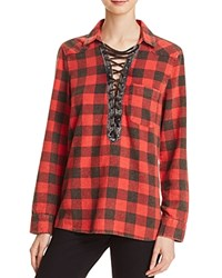 Vintage Havana Buffalo Plaid Lace Up Shirt Red Black