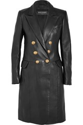 Balmain Double Breasted Leather Coat Black