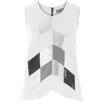 Florence Bridge Alice Patchwork Leather Tank Top White