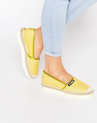 Love Moschino Yellow Glitter Espadrille Flat Shoes Yellow