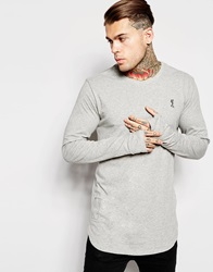 Religion Longline Long Sleeve Top Lightgreymarl