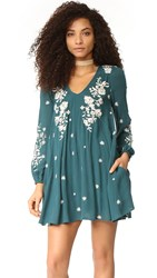 Free People Sweet Tennessee Embroidered Mini Dress Blue Combo