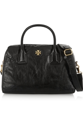 Tory Burch City Textured Leather Tote Black