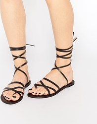 Park Lane Ankle Tie Leather Flat Sandals Chocolate Brown