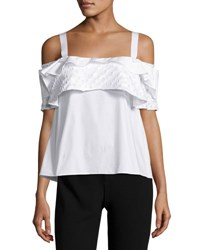 Maiyet Tiered Ruffle Cold Shoulder Top Chalk White