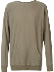Greg Lauren Crew Neck Sweatshirt Green