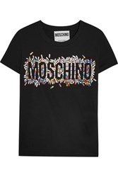 Moschino Printed Cotton Jersey T Shirt Black