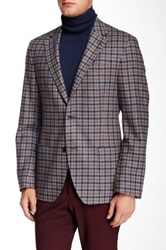 Ike Behar Plaid Notch Lapel Two Button Sportcoat Multi
