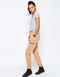 Asos Harem Washed Casual Trousers Brown